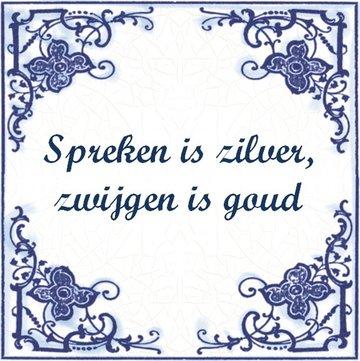 Delfts Blauw tegeltje (nr.23 spreken is zilver)