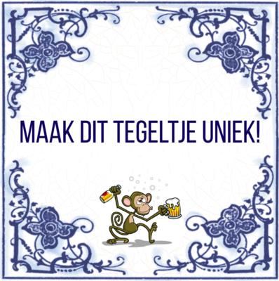 Delfts Blauw tegeltje met aap (nr.23)
