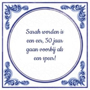 Geliefde Sarah worden is een eer, 50 jaar gaan voorbij als een speer &PB53