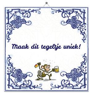 Delfts Blauw tegeltje aap (nr.23)
